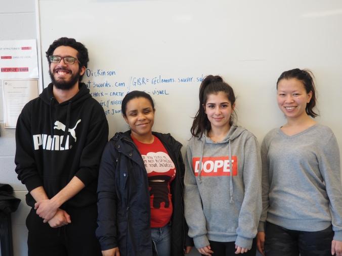 Avec Cennet, Heidy, Maève et Mounir (absents de la photo : Gisèle, Ismaël, Sandra et Stevencia)